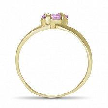 Кольцо из желтого золота Линда с синтезированным аметистом
