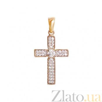 Крестик из красного золота Сандрина с фианитами 000081394