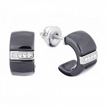 Серьги-пуссеты из серебра и черной керамики Данута с фианитами 000031075