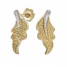 Серьги из золота с бриллиантами Листопад