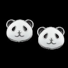 Детские сережки-пуссеты Веселая панда с черно-белой эмалью