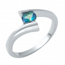 Серебряное кольцо Амели с лондон топазом