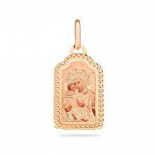 Золотая ладанка Богоматерь Владимирская с эмалью