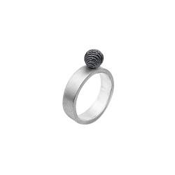 Серебряное кольцо Reef с черненной фактурной бусиной