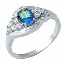 Серебряное кольцо с топазом мистик и фианитами 000074780