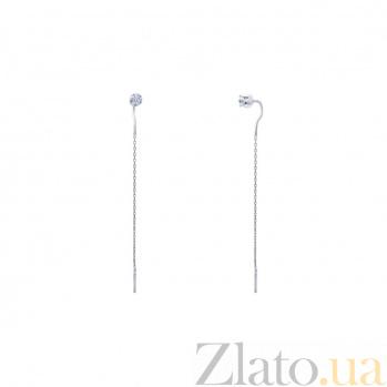 Серебряные серьги цепочки Лючия AQA--2424