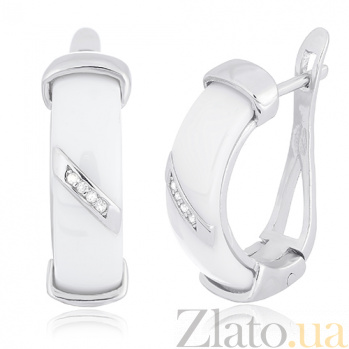 Серебряные серьги с керамикой и фианитами Анелик SLX--СК2ФК1/1002