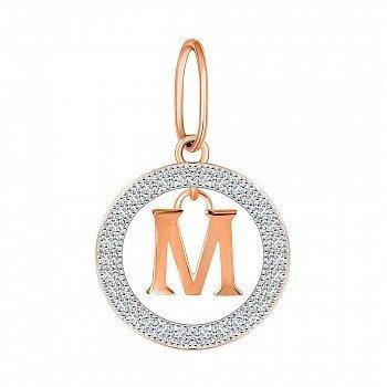 Серебряная подвеска Буква М в круге с фианитами и позолотой 000070113