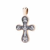 Серебряный крестик с позолотой и чернением Благодать