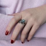 Серебряное чернёное кольцо с топазом Либертина
