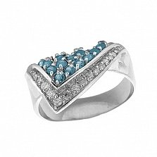 Серебряное кольцо Косынка с голубыми топазами и цирконием