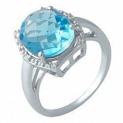 Серебряное кольцо с синтезированным аквамарином и фианитами 000128223