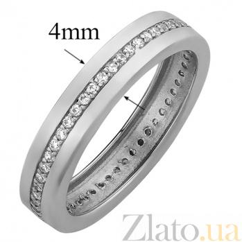 Обручальное кольцо в белом золоте Гортензия с фианитами 000023299