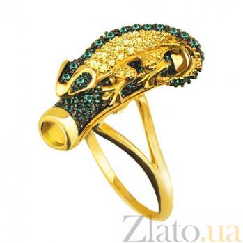Кольцо из желтого золота Хамелеон с фианитами VLT--ТТ1028-1