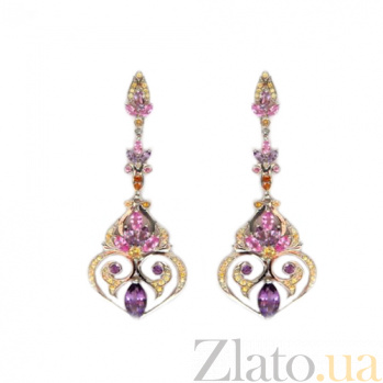 Серебряные серьги с аметистами, розовыми сапфирами и цитринами Kaleidoscope ZMX--EAmSrCt-00463Ag