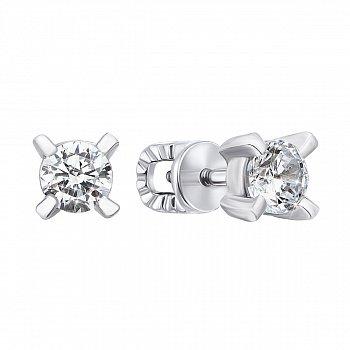Серебряные серьги-пуссеты с цирконием 000123578