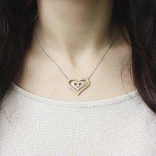 Колье Сердце в сердце из комбинированного золота с бриллиантами