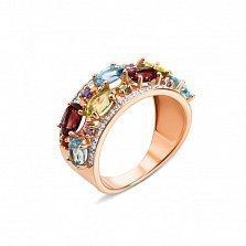 Золотое кольцо Миранда с голубыми топазами, гранатами, хризолитами, аметистами и фианитами