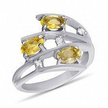 Серебряное кольцо Третье измерение с цитрином и фианитами