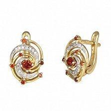 Позолоченные серебряные сережки с красным цирконием Galaxy