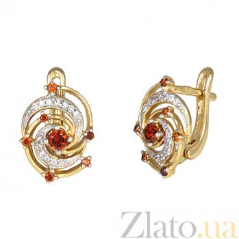Позолоченные серебряные сережки с красным цирконием Galaxy SLX--СК3ФГ/351