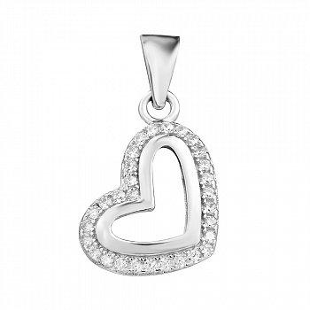 Срібний кулон-сердечко з фіанітами 000106967
