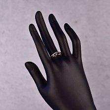 Серебряное двойное кольцо Два сердечка с фианитами