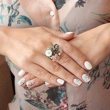 Серебряное кольцо Разгар лета с разноцветным перламутром, фианитами и эмалью