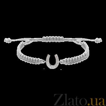 Детский плетеный браслет Удача с cеребряной вставкой и фианитами, 10х20см 000080660