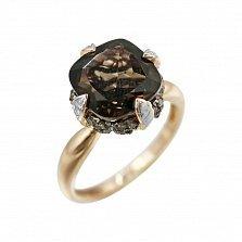 Золотое кольцо Ширли с раухтопазом, белыми и коньячными бриллиантами