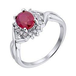 Серебряное кольцо с рубином и цирконием 000125594