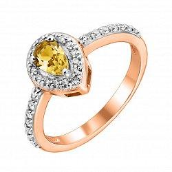 Кольцо из красного золота с цитрином и фианитами 000135579