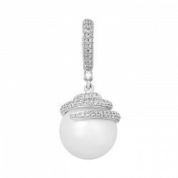 Кулон из белого золота с жемчугом и бриллиантами 000097598