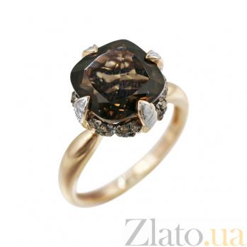 Золотое кольцо Ширли с раухтопазом, белыми и коньячными бриллиантами 000080885