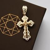 Серебряный крест позолоченный с белой эмалью Светлый покровитель
