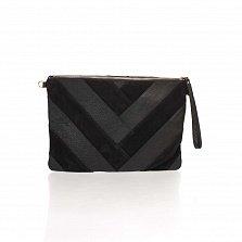 Кожаный клатч Genuine Leather 1304 бархатного черного цвета с ручкой для запястья и молнией-замком