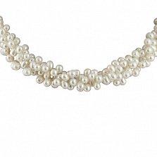 Ожерелье Миатрина из овального белого жемчуга с серебряной застежкой