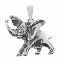 Серебряная подвеска Бегущий слоник с чернением
