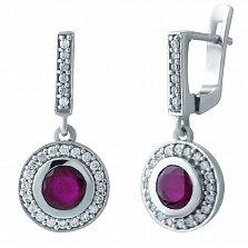 Серебряные серьги-подвески Фая с рубином и фианитами