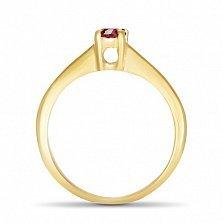 Золотое кольцо Магнолия с синтезированным рубином в четырех крапанах