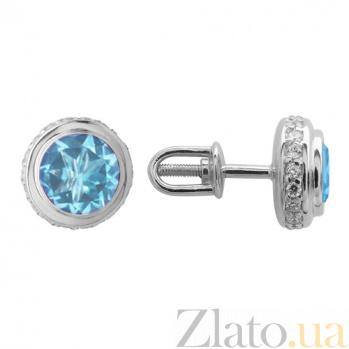 Серьги в белом золоте Нежность с голубым топазом и фианитами 000023407