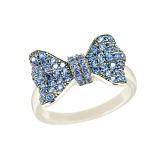 Серебряное кольцо с фианитами Голубой бант