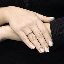Помолвочное золотое кольцо Нормандия в белом цвете с бриллиантом