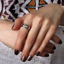 Серебряное кольцо Лавиния с золотой накладкой и черной эмалью