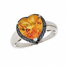 Золотое кольцо в белом цвете с цитрином и чёрными бриллиантами Сердце