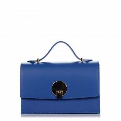 Кожаный клатч Genuine Leather 1520 синего цвета с короткой ручкой и плечевым ремнем 000092273