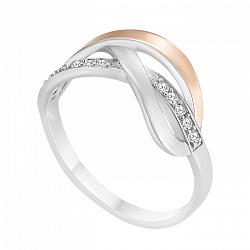 Серебряное кольцо Фаина с золотой вставкой и фианитами