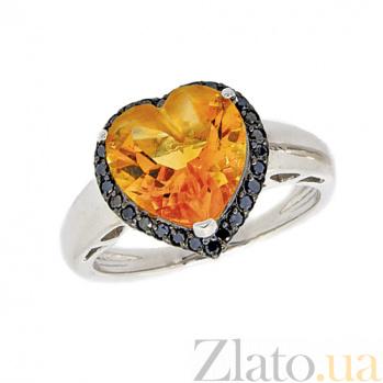 Золотое кольцо в белом цвете с цитрином и чёрными бриллиантами Сердце 000021527