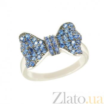 Серебряное кольцо с фианитами Голубой бант 3К543-0110