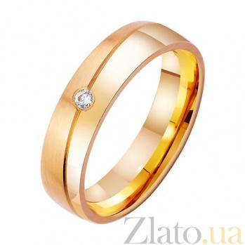 Золотое обручальное кольцо с фианитом Милая леди TRF--412740
